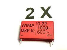 2 x 220nF, 1000V-, 600V~, 10%, 0,22µF, MKP10, RM37,5,  WIMA, 2 Stück