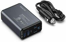 150W Car Power Inverter Dc 12v to 110v Ac Converter with 2 Usb Ports Black