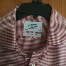 """MENS CHARLES TYRWHITT RED CHECKED LING SLEEVE EXTRA SLIM FIT 16 &1/2"""" EXC COND"""