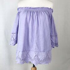 M&S Lilac Purple Bardot Off Shoulder Broiderie Anglaise Crochet Top UK 14