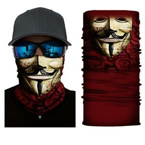 Fishing Shield Bandana Cloth Face Mask Facemask Cover V For Vendetta Red