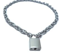 Steel Rope Chain Choker Style Necklace Silver Pad Lock Key Sid Vicious Punk
