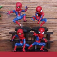 4 pcs Set Spider Man Marvel Avengers Action Figure Disney Collectible Spiderman