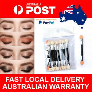 10pcs Disposable Dual Sided Eyeshadow Eyebrow Eyeliner Brush Sponge Tipped Oval