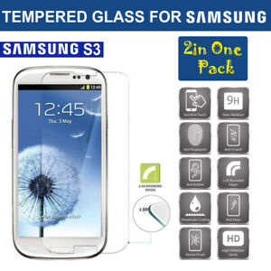 TEMPERED GLASS SCREEN PROTECTOR FOR SAMSUNG GALAXY S3 (2 in 1 Pack)