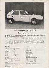 Skoda Favorit 1988-89 UK Market Preview Leaflet Sales Brochure 136 L LX
