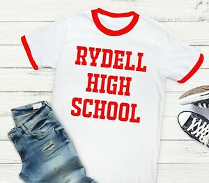 Rydell High School - Varsity Style Grease Movie White Red Unisex Fit T-Shirt Tee