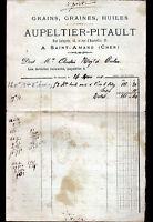 """SAINT-AMAND-MONTROND (18) GRAINS GRAINES HUILES """"AUPELTIER & PITAULT"""" en 1880"""