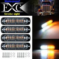 4pcs 10-LED Strobe Lights Emergency Flashing Warning Beacon White Amber 12V 24V