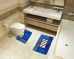 Bath Mat Toilet Rug Set 2 & 3 piece Non-Slip Bathroom Pedestal Toilet Wash