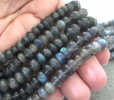 "Large Chatoyant Rainbow Labradorite Smooth Rondelle Beads, 16"" Temporary Strand"