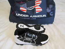 New Boy's Under Armour Clean Up Low Rm Baseball Cleat Black/Wht Sz 5 FREE SHIP