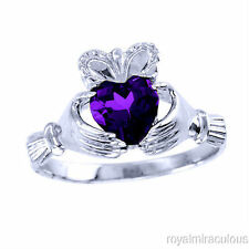 CLADDAGH Amethyst Ring 14K Solid White Gold - LOVE & LUCK