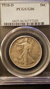 1938-D Liberty Walking Half Dollar * PCGS G06 * Semi Key Date *