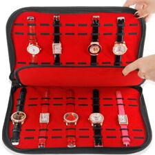 Leather Velvet 20 Watches Storage Bag Organizer Holder Display Box Case