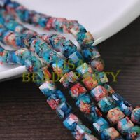 New 30pcs 8mm Cube Square Faceted Glass Loose Spacer Colorful Beads Lake Blue