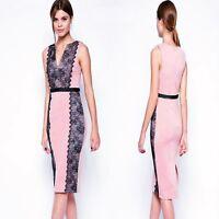 Sz 10 12 Sleeveless Pink Black Lace Sexy Formal Cocktail Party Slim Midi Dress