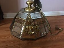 VINTAGE BRASS GOLD GLASS-HEXAGON-CHANDELIER-SWAG