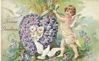 Antique Vintage Post Card Cherub Doves Forget Me Nots Love 1908