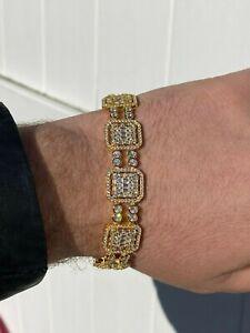 Mens 14k Gold & Real Solid 925 Silver Baguette Tennis Bracelet Iced Diamond 16mm