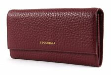 COCCINELLE Metallic Bubble Flat Flap Wallet Grape
