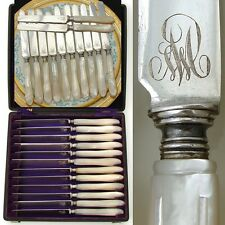Gorgeous Antique French .800/1000 Silver & Pearl 12pc Table Knife Set, Orig. Box