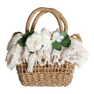 Mori Girls Sweet Knit Lolita Lace Bag Summer Beige Handbag