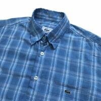 "Vintage LACOSTE Short Sleeve Shirt | Medium M | Blue Check 44"" Chest"