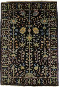 Hand-Knotted Black Floral Tree of Life 4X6 Osh Chobi Oriental Rug Decor Carpet