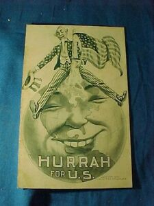 Orig 1909 PEARY NORTH POLE EXPEDITION Hurrah For US POSTCARD w UNCLE SAM