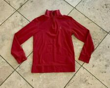 Boys Polo Ralph Lauren Solid Red Long Sleeve 1/4 Zip Pullover Size M 10/12