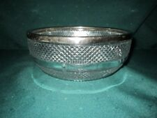 Crystal Fruit/Salad Bowl w/Silver-Plated Top Rim~England~Vg~