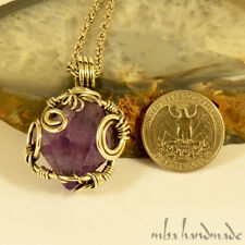 Amethyst Point Vintage Necklace German Silver Wire Wrapped Natural Stone Jewelry