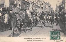 CPA 76 LE MILLENAIRE NORMAND 1911 GROUPE DE SEIGNEURS A CHEVAL