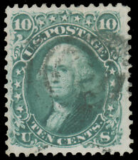 1868 10c GREEN E GRILL USED #89 beautifully centered with overall light cancel c
