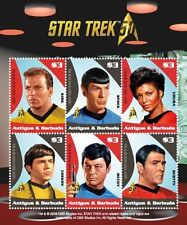 Antigua - Star Trek 50th Anniversary- Sheet of 6 Stamps 2017 MNH
