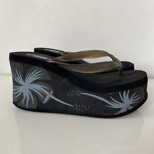 VTG 90s Y2K black Floral Print Bongo platform thongs flip flops 7