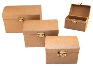 Paper Mache Small Treasure Chest Box x 6 pieces