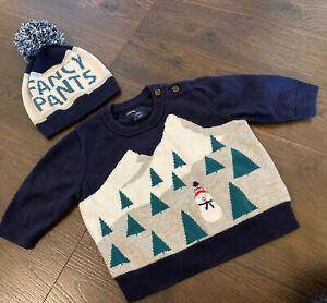 """GAP Baby Boy 0-6 Mo  """"Fancy Pants"""" Blue Gray Sweater Hat Pom Pom Snowman Sweater"""