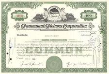 Paramount Pictures Corp 1965 New York Indiana Jones Star Trek stock certificate