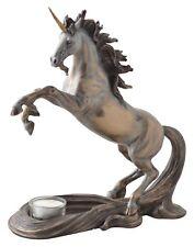 Veronese Figur Einhorn mit Teelicht bronziert Pferd Skulptur Fabelwesen