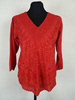 Womens Size Medium Top Embroidered Boho Cotton Blouse Peasant V-Neck Red Shirt M