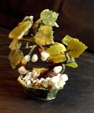 WIRE, PLASTIC, RESIN BONSAI TREE WITH BEADS & LEAVES SHADES OF GREEN 6 IN HIGH