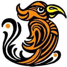 30 Custom Orange Artistic Bird Personalized Address Labels