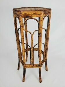 "Vintage Tortoiseshell Bamboo Table Plant Stand Boho Mid-Century 29 3/4"" Tall"