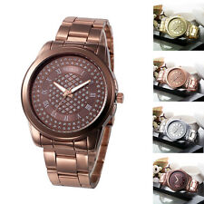 Geneva Mode Damen Quaruhr Armbanduhr Edelstahl Kristall Analog Quarz WristWatch