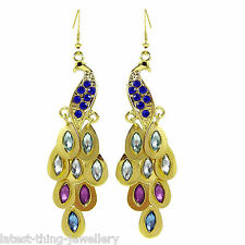 Peacock Earrings Gold Purple Green Blue Rhinestone Dangle Drop Statement Design