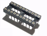 10PCS IC Sockets DIP-20 Machined Round Contact Pins Holes 2.54mm DIP20 DIP 20