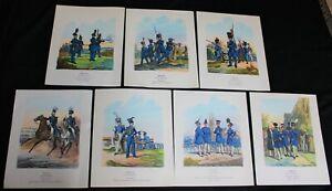 7 KINGDOM OF BAVARIA GERMAN ARMY TROOPS OF 1838 LITHOGRAPAH PRINTS VINTAGE