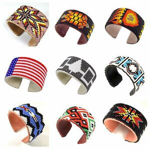 Native Style Handmade Beaded Hard Multi-color Cuff Bracelet Genuine Leather 1.5